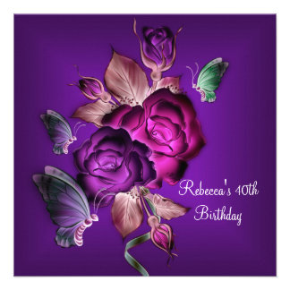 40th Birthday Party Elegant Purple Pink Roses 2 Personalized Invites