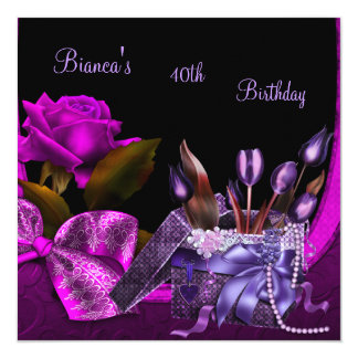 40th Birthday Party Elegant Purple Rose Gift Box Card
