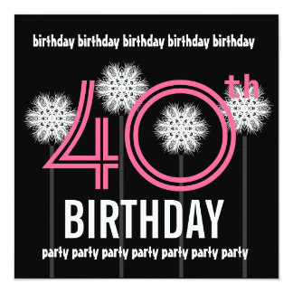 40th Birthday Party Flowers Template Pink Black Card