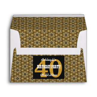 40th BIRTHDAY PARTY For Her Black and Gold Z11 Envelope