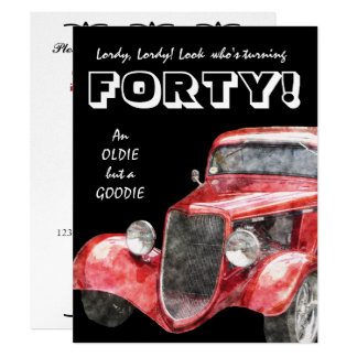 40th Birthday Party For Him - Classic Hotrod Car Card