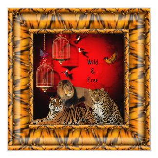 40th Birthday Party Gold Bamboo Red Wild Tiger Invitation