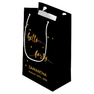 40th Birthday Party Gold Black Hello Forty Small Gift Bag