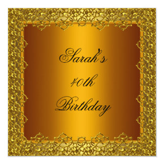40th Birthday Party Gold Lace Frame Yellow Card