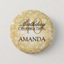 40th Birthday Party Gold Winter Wonderland Pinback Button