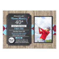 40th Birthday Party Golf Ball Photo Golfing Invite