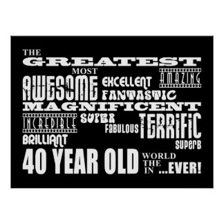 40th Birthday Party Greatest Forty Year Old Poster