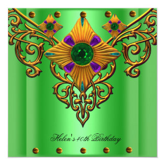 40th Birthday Party Green Gold jewel Card