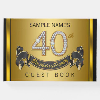 40th Birthday Party Guest Book Black Gold