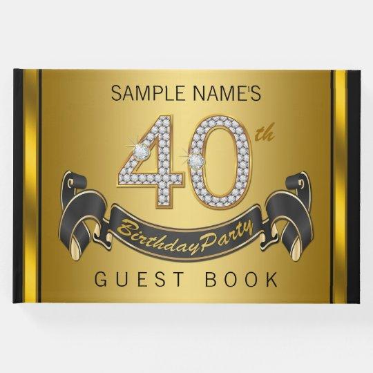 40th birthday party guest book black gold zazzle com