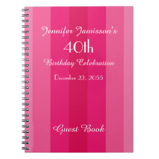 40th Birthday Party Guest Book Pink Stripe Spiral Notebook
