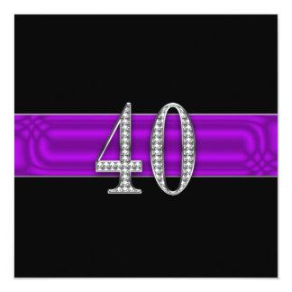 40th Birthday Party Inviation - Purple Ribbon Card