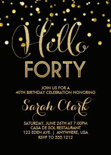 Black and gold 40th birthday invitations zazzle 40th birthday party invitation filmwisefo