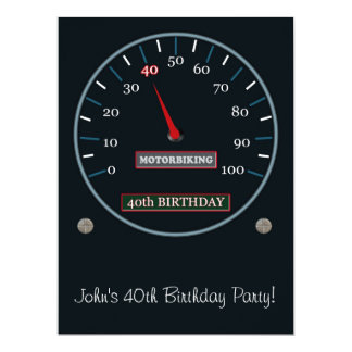 "40th Birthday Party Invitation 6.5"" X 8.75"" Invitation Card"