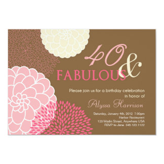40th Birthday Party Invitation- 40 and Fabulous!
