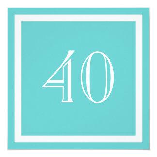 """40th Birthday Party Invitation - Aqua 5.25"""" Square Invitation Card"""