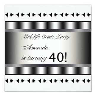 40th Birthday Party Invitation Black