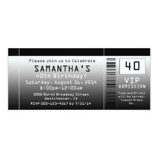 40th Birthday Party Invitation, Black Ticket