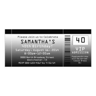 40th Birthday Party Invitation, Black Ticket 4x9.25 Paper Invitation Card