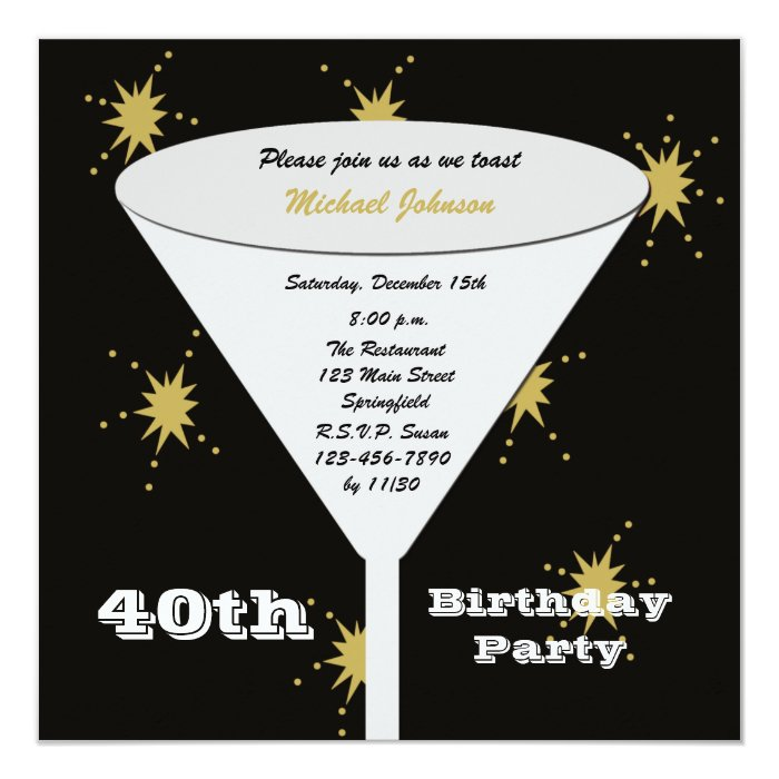40th Birthday Party Invitation Gold 40th Toast