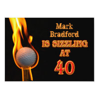 40th Birthday Party Invitation - Golf - Sizzling!