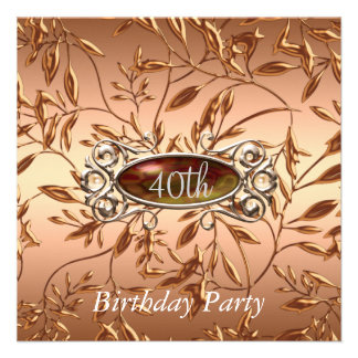 40th Birthday Party Invitation Leaves Ocre