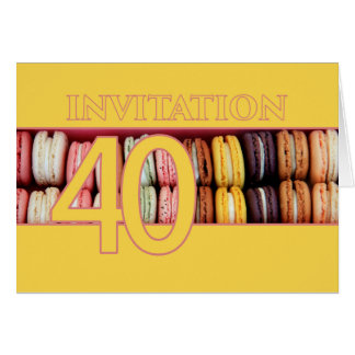 40th Birthday party invitation macaron