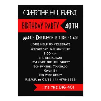 "40th Birthday Party Invitation - Over the Hill 5"" X 7"" Invitation Card"