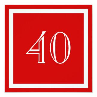 """40th Birthday Party Invitation - Red 5.25"""" Square Invitation Card"""