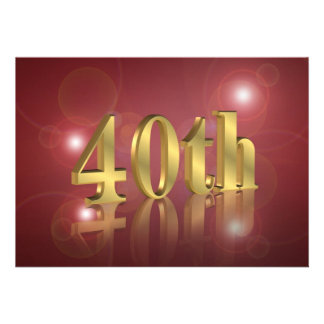40th Birthday party invitation red and gold number