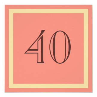 """40th Birthday Party Invitation - Salmon Coral 5.25"""" Square Invitation Card"""