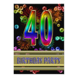 40th Birthday party Invitation with bubbles