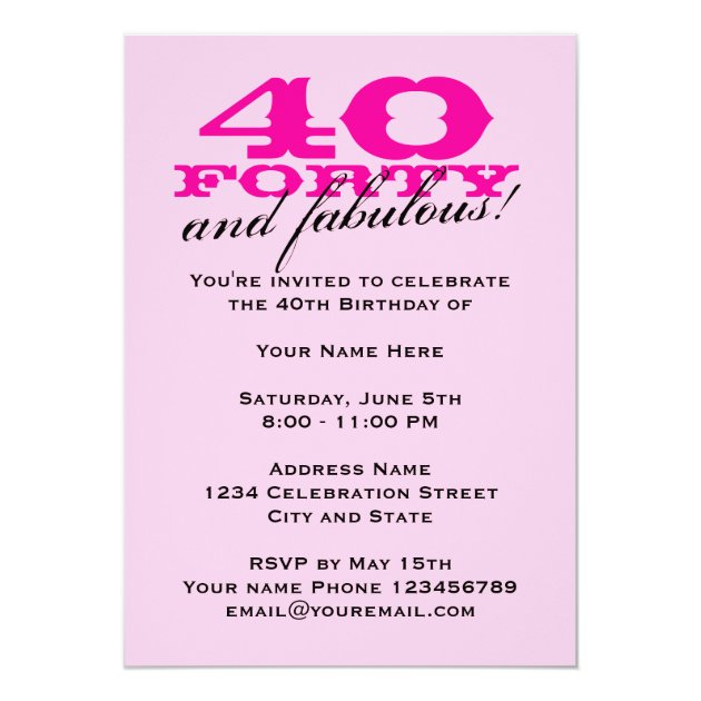 40th birthday party invitations for women zazzle