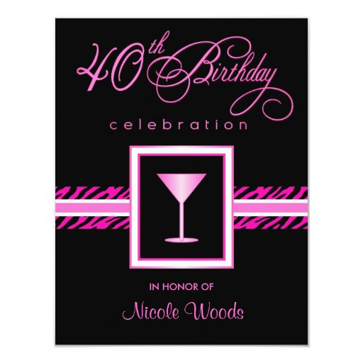 40th Birthday Party Invitations - Hot Pink Zebra