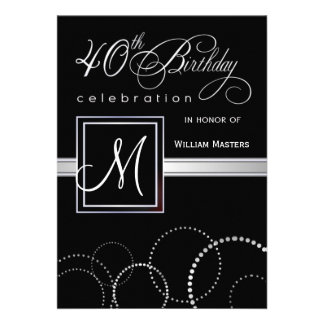 40th Birthday Party Invitations - with Monogram