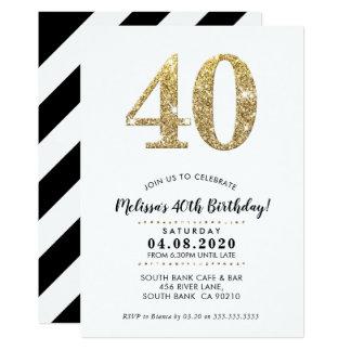 40TH BIRTHDAY PARTY INVITE modern gold glitter