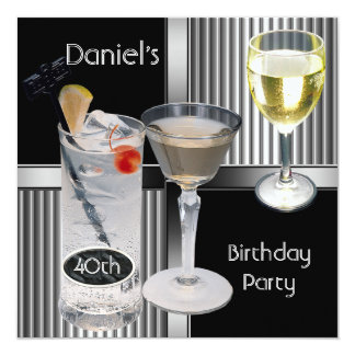 40th Birthday Party Mens Drinks Metal Black Silver Card