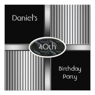 40th Birthday Party Mens Metal Black White Silver Card