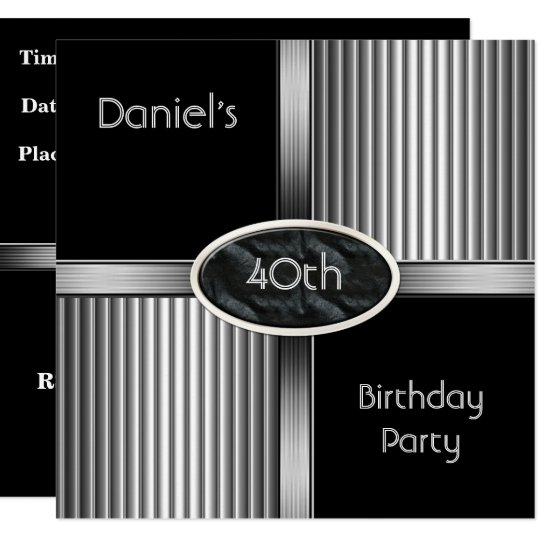 40th Birthday Party Mens Metal Black White Silver Invitation