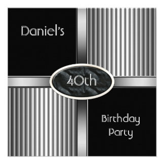 40th Birthday Party Mens Metal Black White Silver Announcement