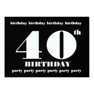 40th Birthday Party Metallic Template Card