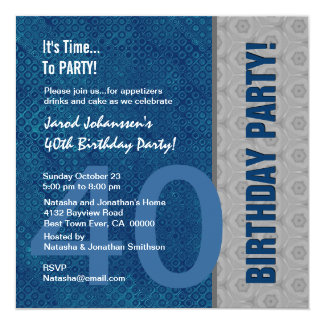 40th Birthday Party Modern Blue and Silver S317 Card