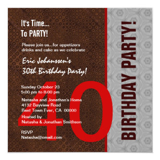 40th Birthday Party Modern Chocolate and Red S308 Card