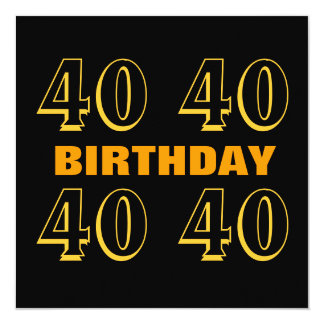 40th Birthday Party Modern Gold and Black W1019 Invitation