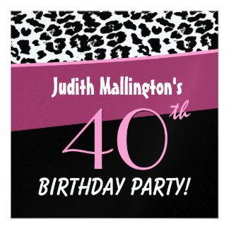 40th Birthday Party Modern Leopard For Her W425 Custom Announcements