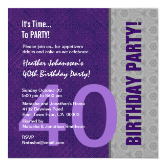 40th Birthday Party Modern Purple and Silver S312 Card