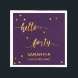 "40th birthday party name hello forty gold purple napkin<br><div class=""desc"">Elegant and modern for a 40th birthday party.  Chic trendy purple backdrop and faux gold text written with a trendy hand-lettered style script: hello forty. With golden dots as decor. Template for a name and date.</div>"