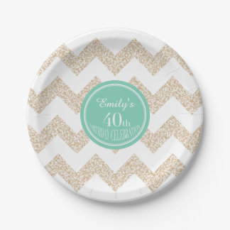 40th Birthday Party Paper Plates - Choose Color