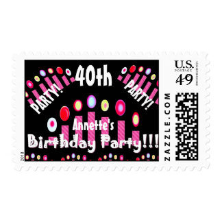 40th Birthday Party Pink Candles V01A Postage