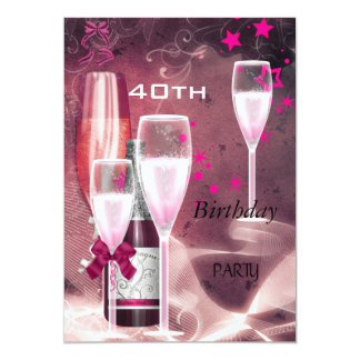 40th Birthday Party Pink Champagne 40 Card